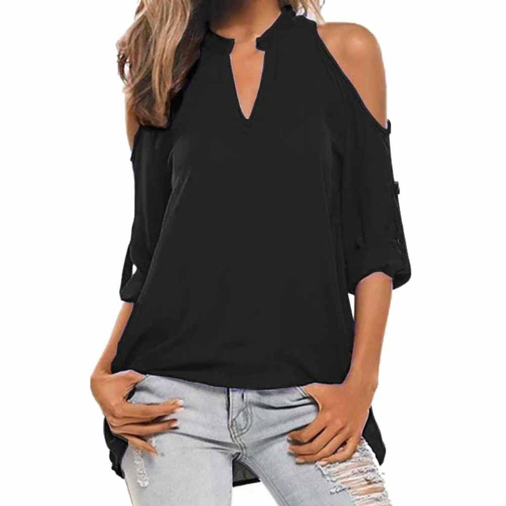 9d473efbfc96 Rambling Women's Sexy V Neck Casual Cold Shoulder Shirt Tops Summer Cross  Wrap Top Blouse Pullover at Amazon Women's Clothing store: