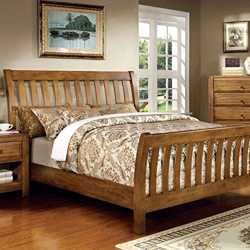 conrad country style rustic oak finish queen size bed frame set