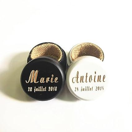 Personalizado rústico boda madera anillo caja Set Soporte Personalizado tu nombres y fecha anillos de boda