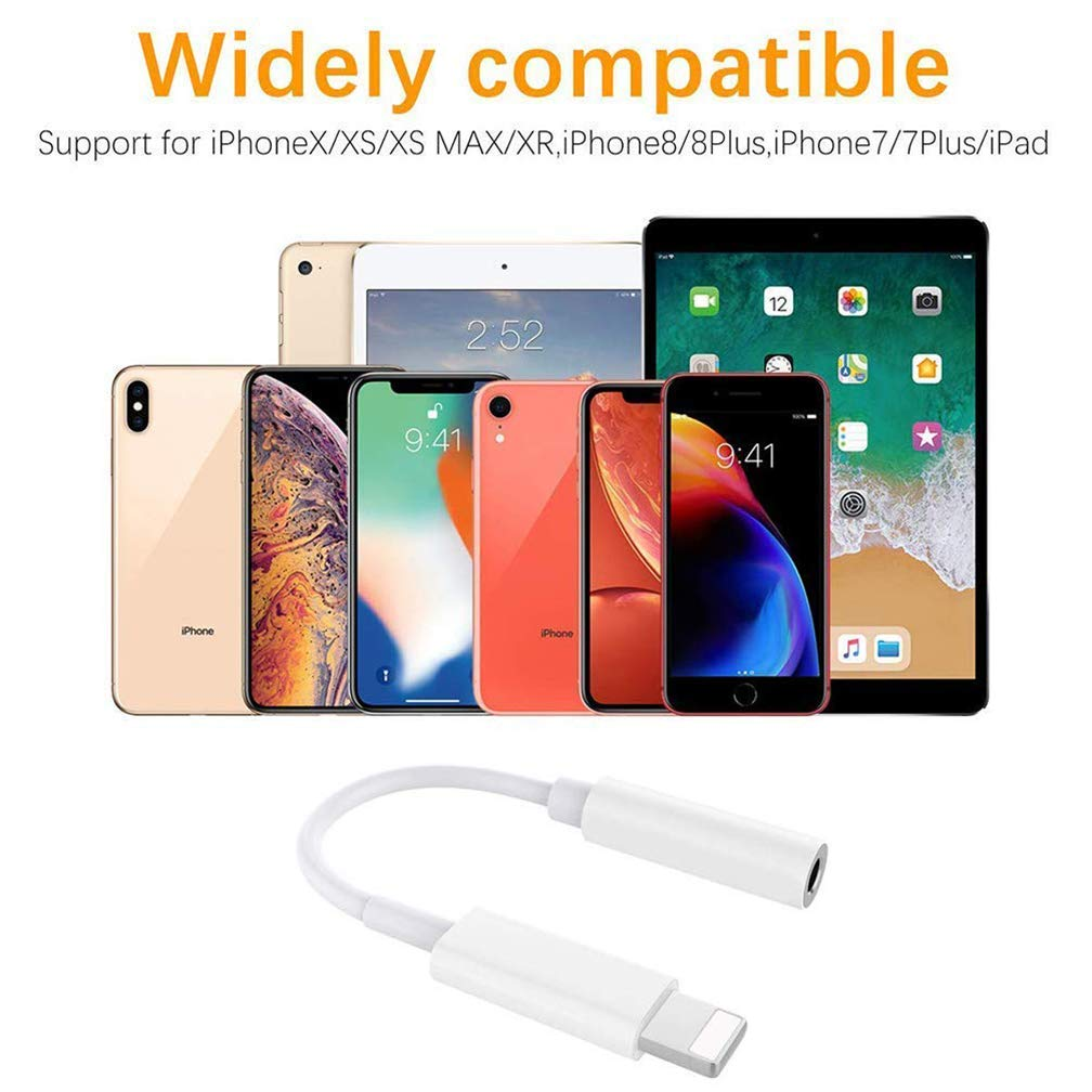 Kopfh/örer f/ür iPhone 7 Adapter-Anschluss AUX 3,5 mm Kopfh/örer-Adapter f/ür iPhone //8//8 Plus//X//XS//XR Converter Zubeh/ör Kopfh/örer-Kabel-Splitter Audio-Buchse Ohrh/örer-Adapter Unterst/ützt alle iOS