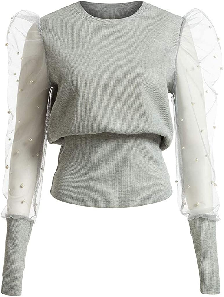 Photno Womens Crew Neck Lantern Sleeve Top Casual Loose Transparent Mesh Sleeves Solid Blouse T Shirt