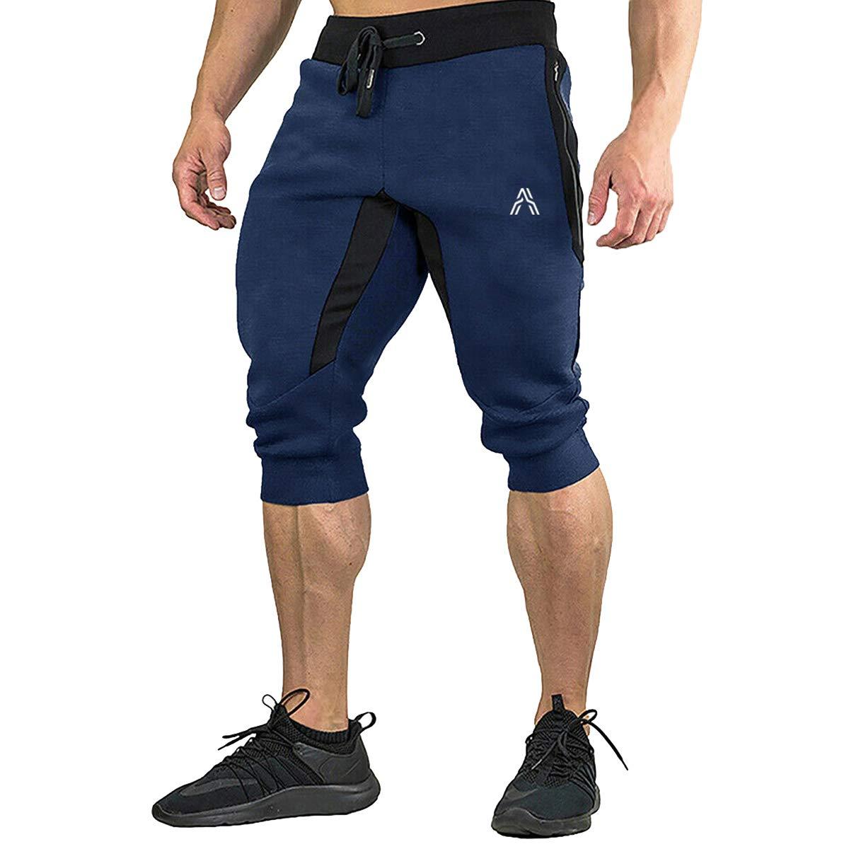 MAGCOMSEN Mens Joggers Sweatpants with 4 Pockets Gym Workout Running Shorts Drawstring Capri Pants