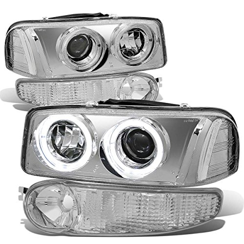For GMC Sierra/Yukon Denali Pair Chrome Housing Clear Corner Halo Projector Headlight+Bumper Light