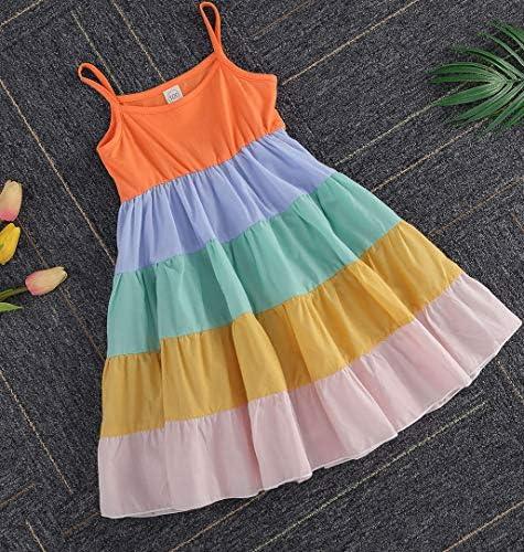 Kids Baby Girl Rainbow Dress Striped Adjustable Shouder Strap Loose Fit Maxi Dresses Casual Beach Dress