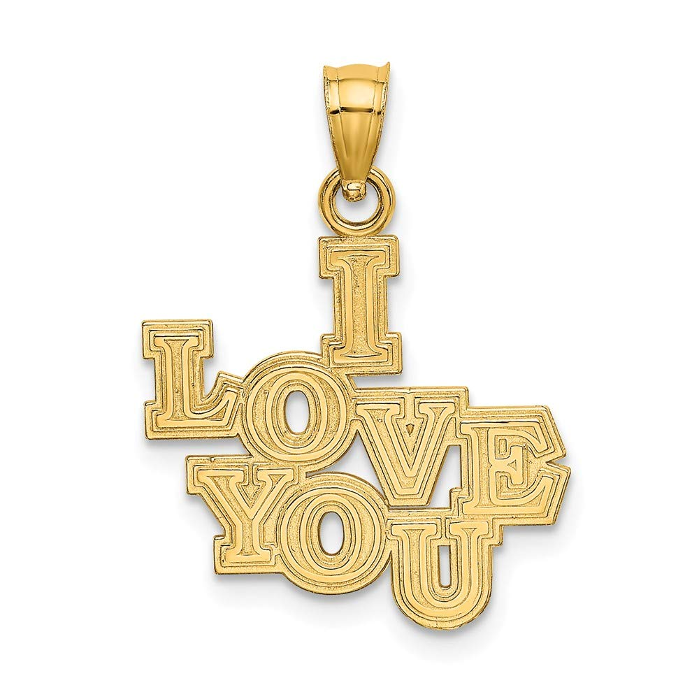 14k Yellow Gold I Love You Stacked Block Charm by Diamond2Deal