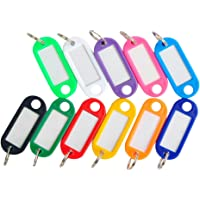 iTemer. 100pcs Key Tags with Split Ring Key Fobs Labels ID Tags Keyring Tags (Random Color)