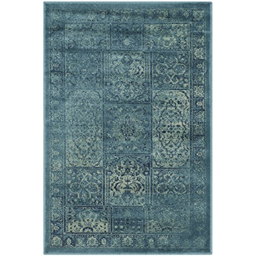 - Safavieh Vintage Premium Collection VTG127-2220 Transitional Oriental Turquoise and Multi Panels Silky Viscose Area Rug (2' x 3')