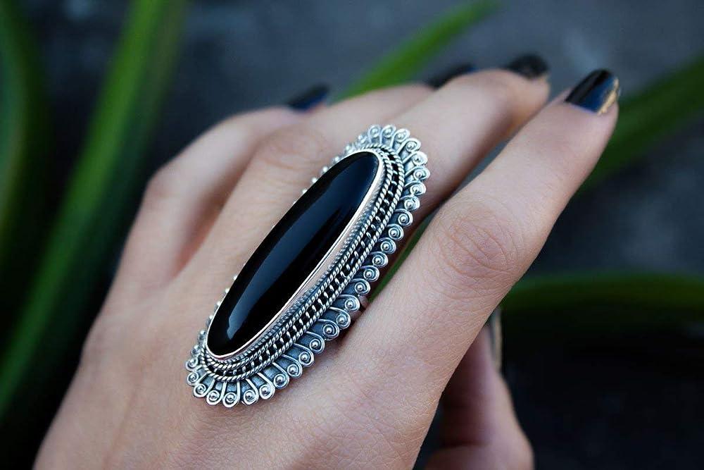 Geometric sa171608 Genuine Black Onyx Simple 34 Tall Modern Size 6-34 Natural Black Onyx Ring Round