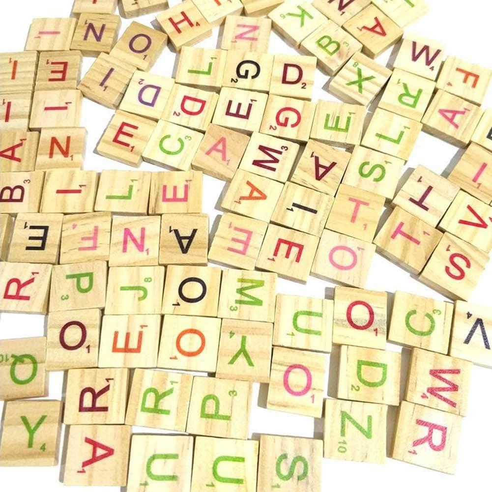 Coomir 100 Piezas de Madera Scrabble Azulejos Letras Coloridas números para Manualidades Juguete de Madera del Alfabeto: Amazon.es: Juguetes y juegos