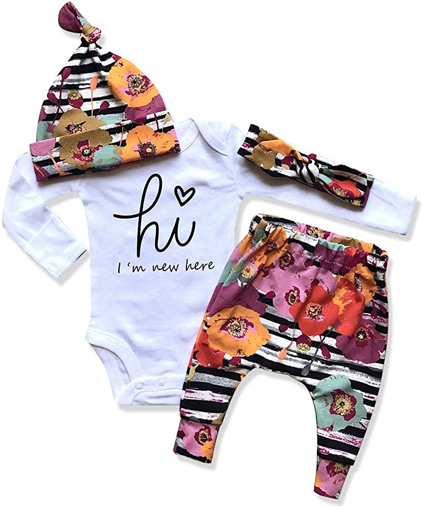 Newborn Baby Girl Clothes Im New Here Infant Newborn Outfit Cute Toddler Baby Girl Outfits 4PC Set…