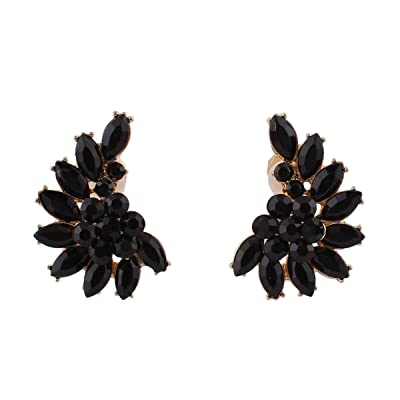 Luxury Fashion Gold Color Crystal Clip on Earrings Without Piecing