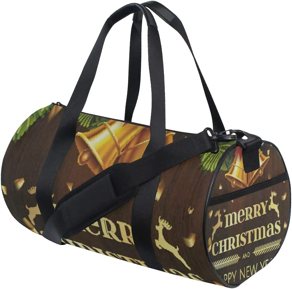Sports Bag Christmas Bells Fir Tree Mens Duffle Luggage Travel Bags Kid Lightweight Gym bag