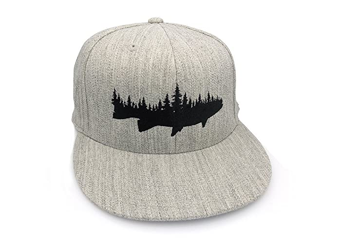 059dea353c711 Image Unavailable. Image not available for. Color  Men s Hat - Fish and  Forest - Men s Flat Bill   Curved Bill Fitted   Snapback