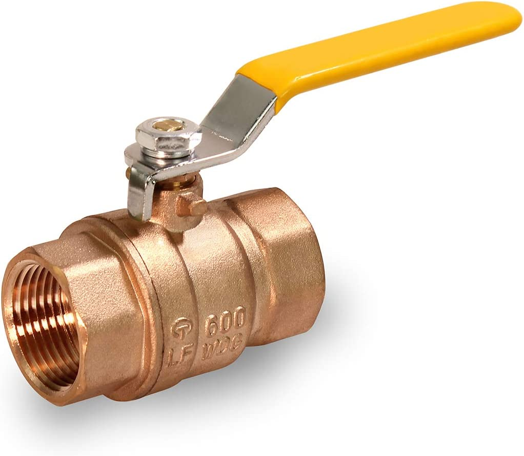 MIDLINE VALVE 822T334 Lead Free Full Port Forged Brass Ball Valve with Female Threaded IPS Connections, 1-1/2''