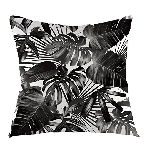 (oFloral Tropical Plants Throw Pillow Case Palm Tree Leaves Square Cushion Cover for Sofa Home Bedroom Living Room Decorative 18 x 18 inch Black White)