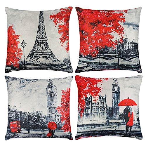 - Decorative Red Throw Pillow Covers 18x18 Inches Black & Red Color Eiffel Tower & Big Ben Lovers Pillow Case Cushion Cover Burlap for Sofa, Living Room, Bedroom, Indoor or Outdoor Pillowcase, Set of 4