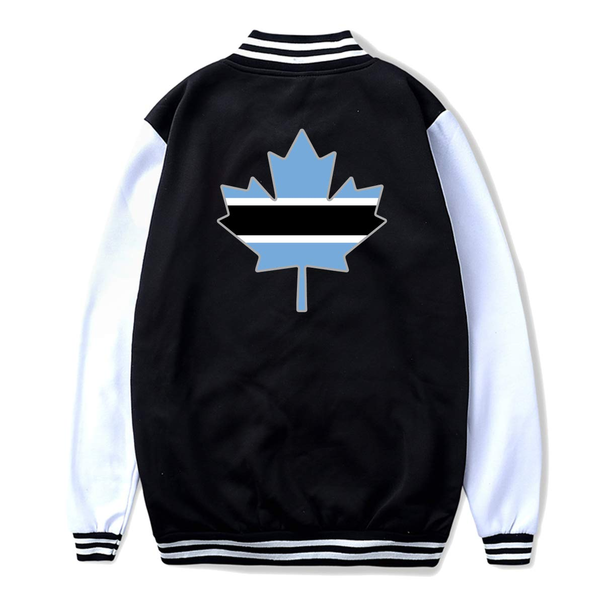 Unisex Teen Baseball Uniform Jacket Botswana Flag Canada Maple Leaf Hoodie Coat Sweater Sweatshirt Back Print