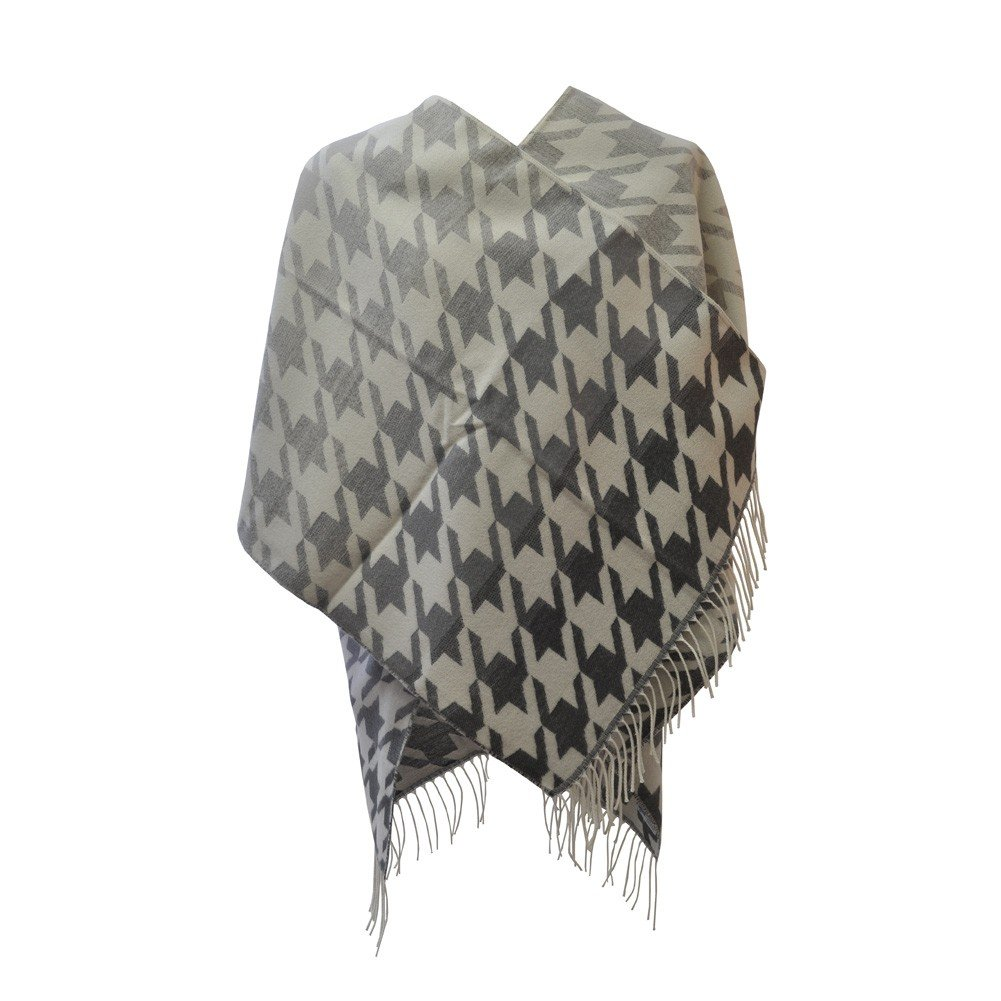 TOUTACOO Grande Poncho con Frange Donna Made in France