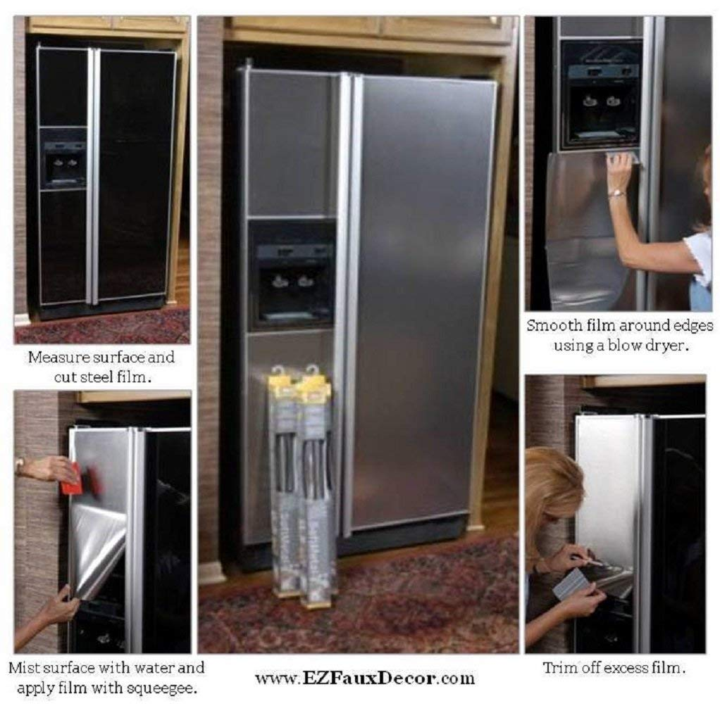 Stainless Refrigerator Nickle FINISH  Peel and Stick Stainless Faux Film
