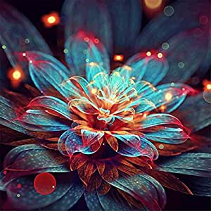 Diamond Painting Kit, Full Drill Diamond Embroidery Painting Wall Sticker for Home Wall Decor - Shiny Flower 12 x 12inch