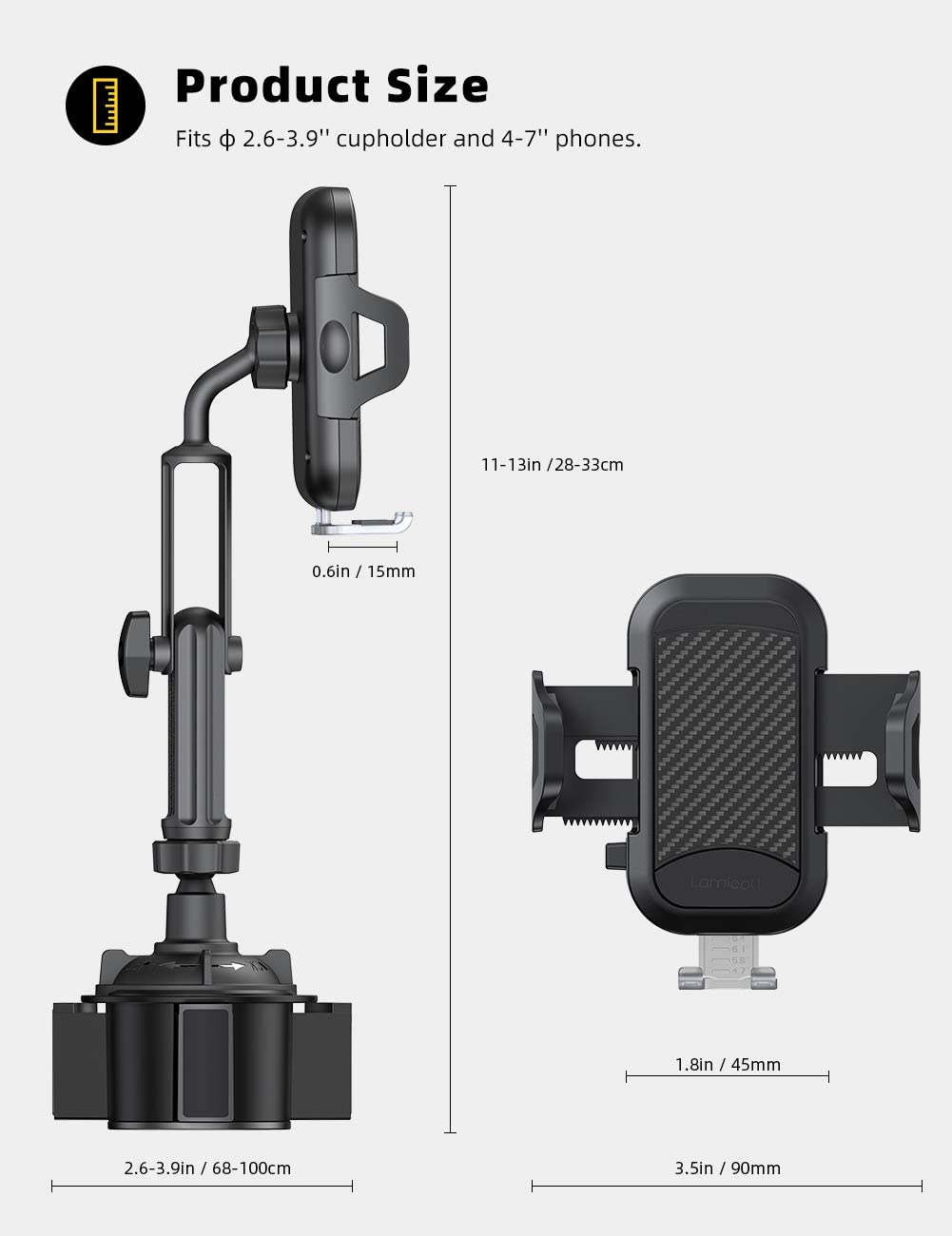 Car Cup Holder Phone Mount Compatible with iPhone 11 Pro Xs Max XR X 8 7 6 Plus 4-6.5 Smart Phones Cell Phone Cupholder Cradle with Extendable and Adjustable Arm