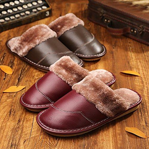 35 de n cuir Chaussons de hiver la chaussures le restent 34 et nervure en femmes coton d'hommes et en couple en coton rouge 25 Chaussons une épais fond girl cuir lame RpRPgqna
