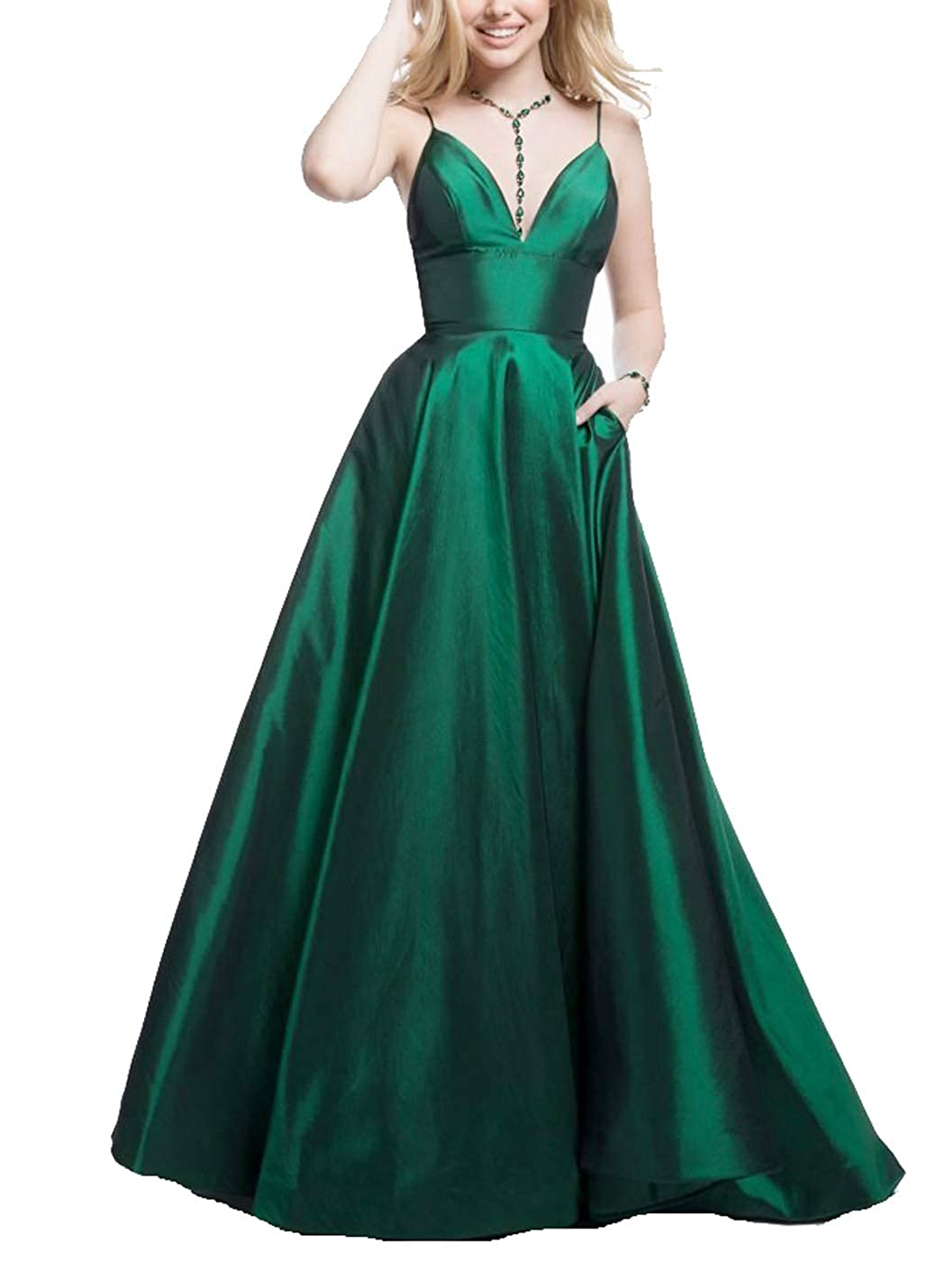 Green Tmaoomo Long Prom Dresses for Women 2019 Spaghetti Strap Evening Ball Gowns with Pockets