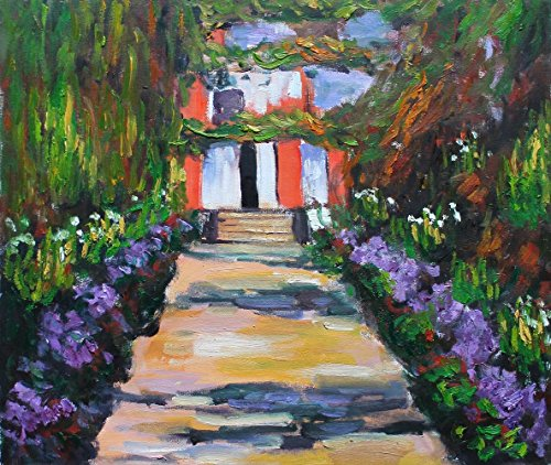 Claude Monet Landscape Oil Painting Reproduction Vivid Color Thick Brush Strokes Impressionist Artwork Signed on the Back Canvas Wall Art Home (Landscape Painting Signed)