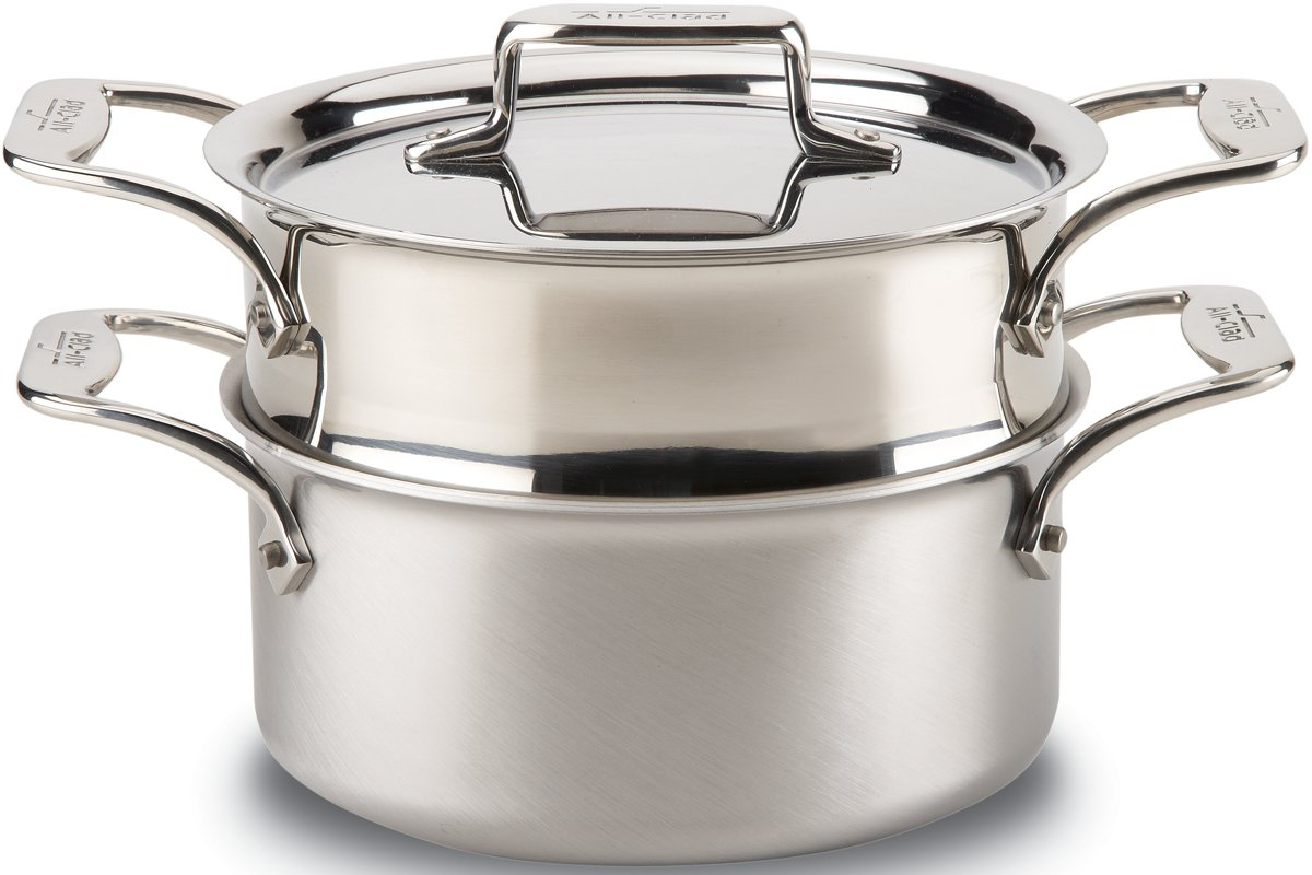 All-Clad BD55303 D5 Brushed 18/10 Stainless Steel 5-Ply Bonded Dishwasher Safe Casserole with Lid and Steamer Cookware, 3-Quart, Silver Groupe SEB 8400000149