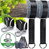 Tree Swing Straps Hanging Kits, Hammock Straps Heavy Duty Holds 2800lbs, include 2 Straps(1.5m/ 5ft Each Strap), 2 Carabiners with Safe Locks, 1 Swivel Hook, 2 Protection Mats, 1 Carry Pouch, Perfect for Tree Swings & Hammocks, Easy Installation with Instruction