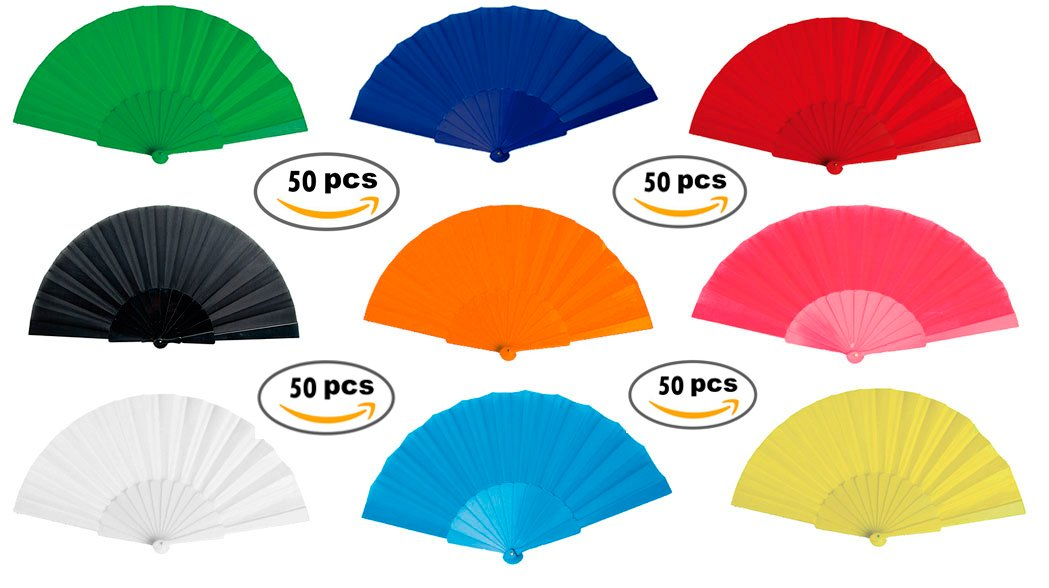 Lote de 50 Abanicos de Plástico y Tela de Colores Variados - Abanicos de PVC y Tela de Colores. Abanicos para Bodas Invitadas Baratos, Abanicos Baratos para ...