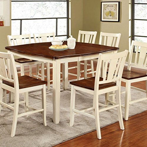 dover transitional style white cherry finish 7 piece counter height dining table set. Black Bedroom Furniture Sets. Home Design Ideas