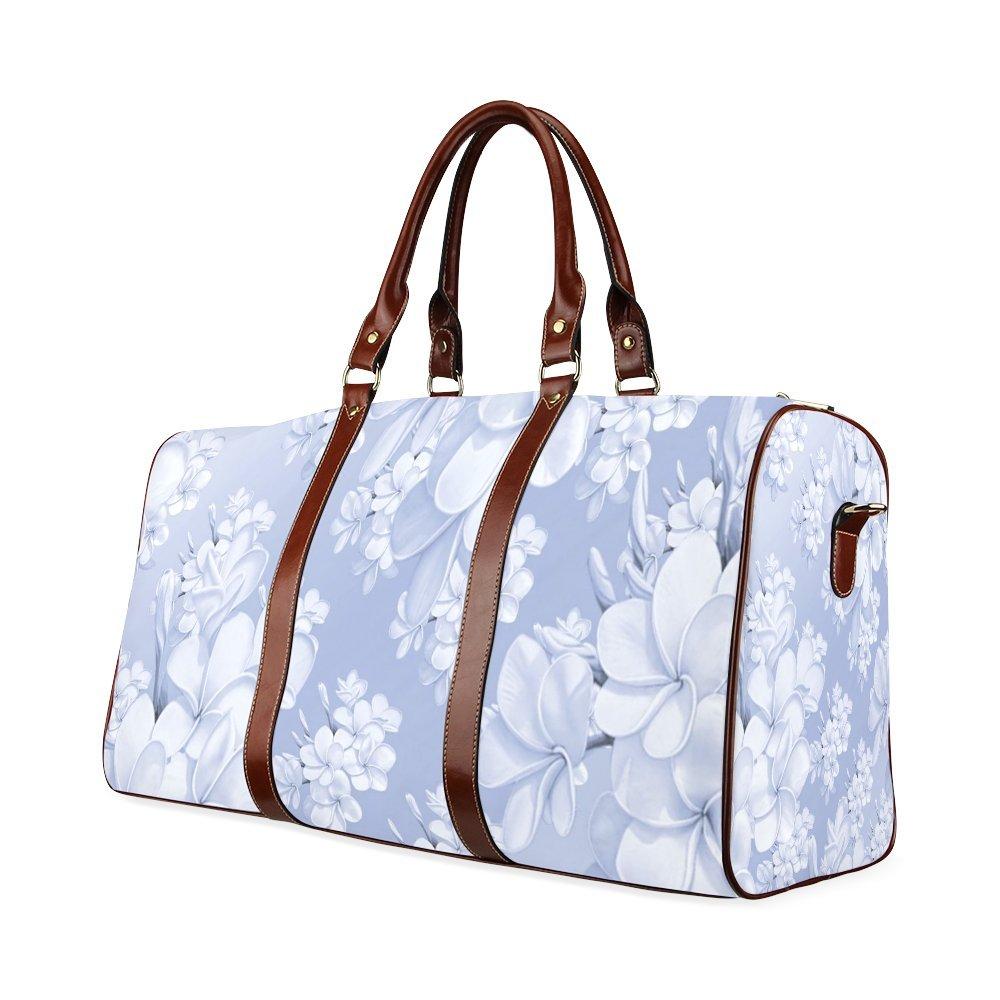 Delicate Floral Pattern,Blue Custom Waterproof Travel Tote Bag Duffel Bag Crossbody Luggage handbag