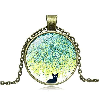 FZYXX Collar Colgante Mujer Jardín Gato Joyas Cristal ...
