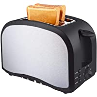 Toaster 2 Slice Warming Rack Brushed Stainless Steel for Breakfast Bread Toasters Best Rated Has Defrost Reheat Cancel Button Removable Crumb Tray By KEEMO