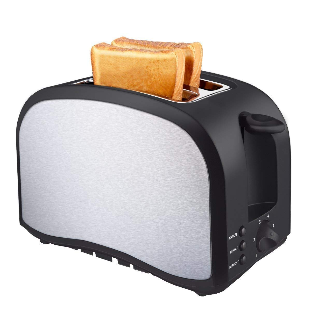 Toaster 2 Slice, Compact Brushed Stainless Steel Breakfast Bread Two Slice Toasters Quickly Toasts Defrost Reheat Cancel Button Removable Crumb Tray By KEEMO