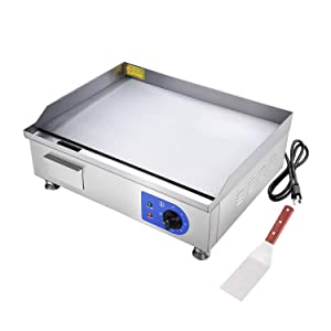 """Koval Inc. 24"""" Food Electric Griddle Countertop Grill Commercial (24"""", Stainless Steel)"""