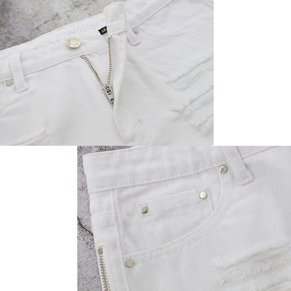 Zhuhaitf Denim Zipper Holes Ripped Shorts Hot Pant Party Clubwear Fashion for Ladies