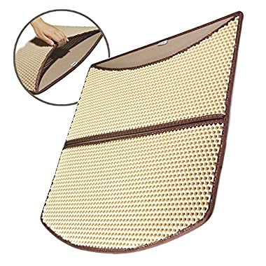 WooPet! Cat Litter Mat Large Beige 24 x 22, Prevent Litter Scatter from Litter Tray, Anti Tracking Litter and Catch Litters