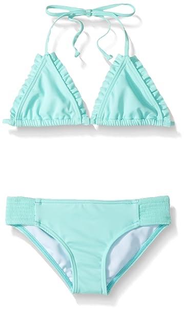 d6b868704e BILLABONG Little Girls' Sol Searcher Tri Two Piece Swimsuit Set, Beach  Glass, ...