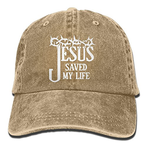 Jesus Saved My Life Unisex Adult Adjustable Jeans Dad Cap by MANMESH HATT (Image #1)