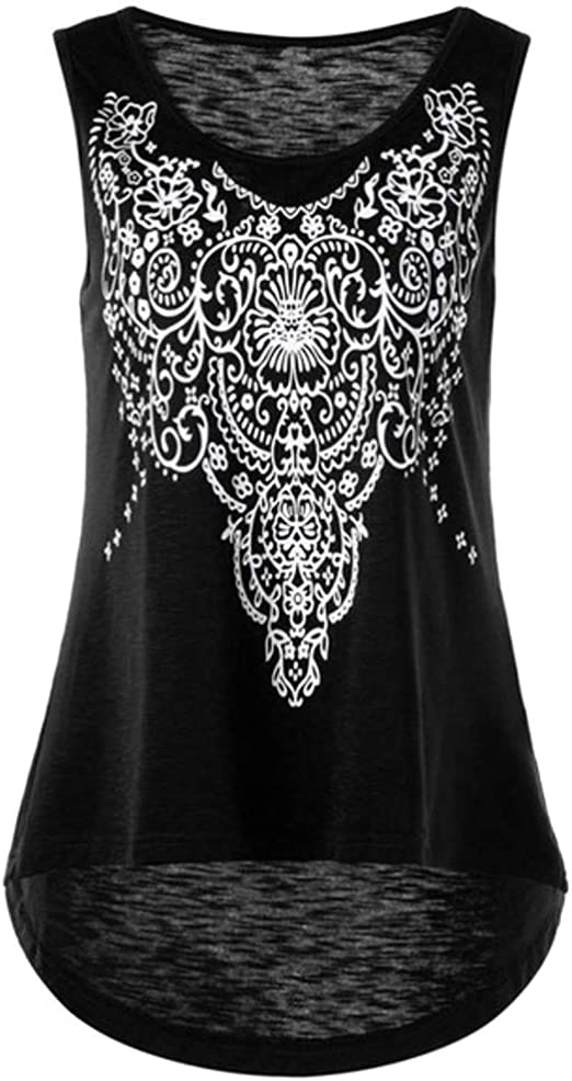 Women Summer Lace Vest Top Sleeveless Blouse Casual Tank Tops Print T-Shirt