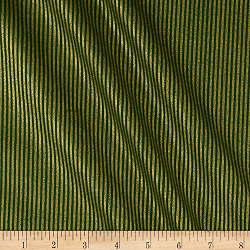 Santee Print Works Christmas Jewels Stripes Metallic Gold/Green Fabric by The Yard ()
