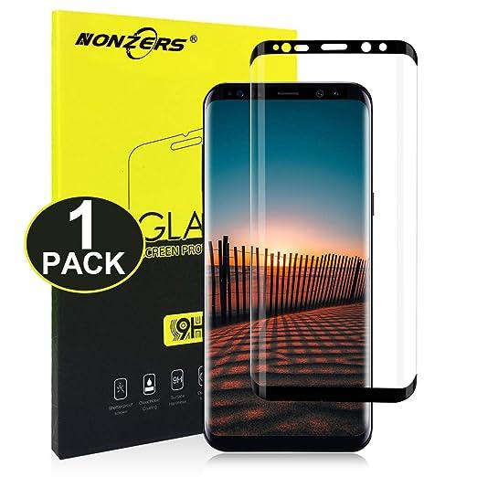 NONZERS Protector de Pantalla para Samsung Galaxy S8 Plus,Cobertura Total (3D Curvo) Cristal Templado para S8 Plus,Premium HD Vidrio Templado,1 Unidade: ...