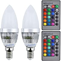 Luxvista 3W E14 LED RGB Light Bulb 16 Colors Changing SES Candle Bulbs Dimmable Mood Lighting with Remote Controller for Bar Party Home Decoration (2-Pack)