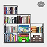 Fanala 4 Tier Bookcase Adjustable Storage Book Shelf 9 Cubes Cabinet Organizer(US STOCK) (Gray)