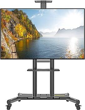 Jsmhh Cesta de TV con Ruedas for Pantalla Plana de Plasma LCD LED Soporte 50-80 Pulgadas de Altura Ajustables al Piso Soportes for televisores Estante de exhibición for la Sala de Estar,