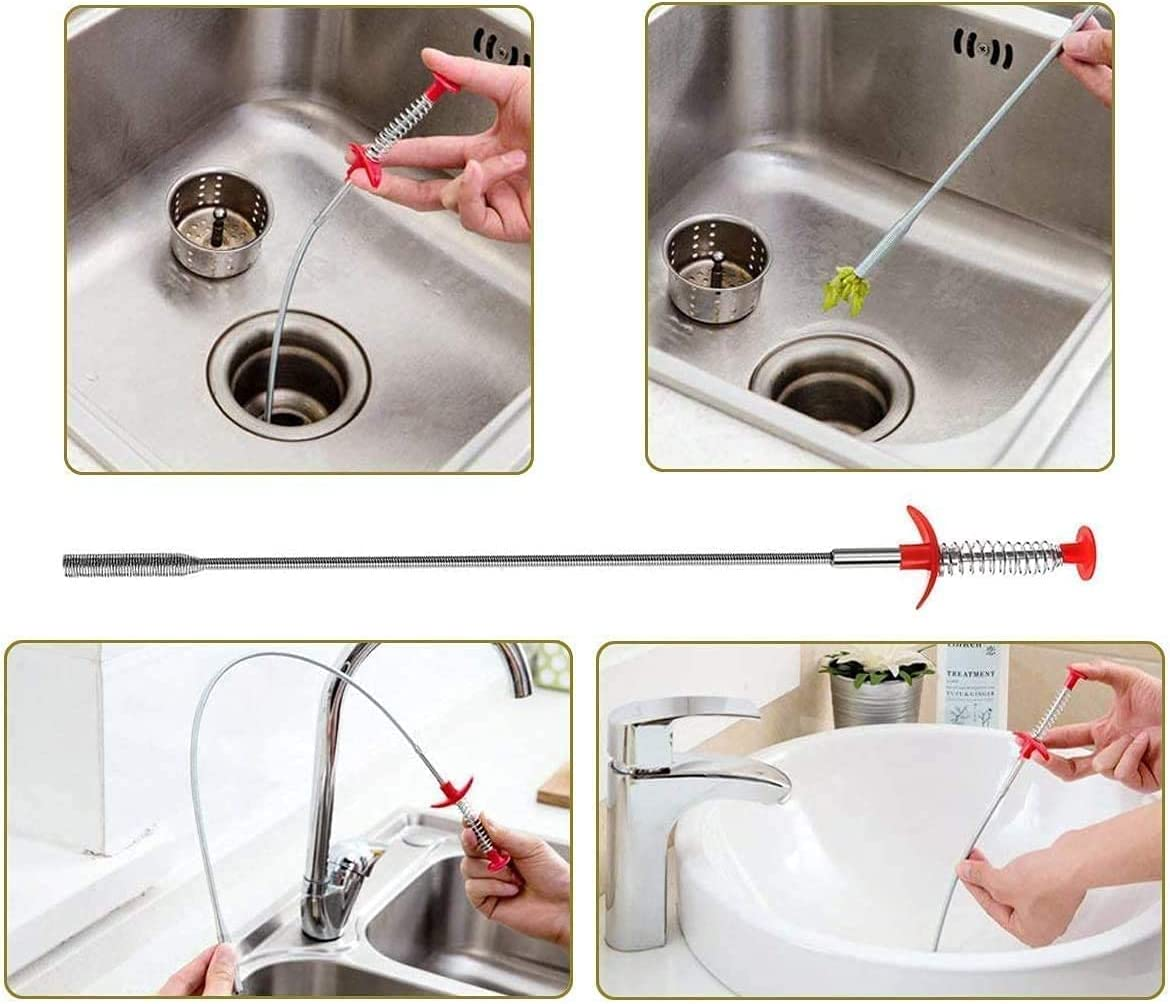 5 in 1 sink snake cleaner drain auger hair catcher sink dredge drain clog remover cleaning tools for kitchen sink bathroom tub toilet clogged drains