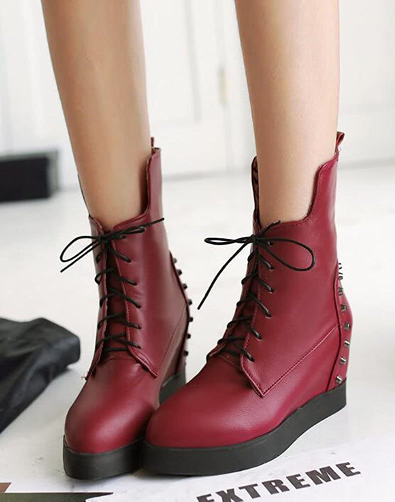 CHFSO Womens Trendy Round Toe Studded Lace Up High Wedge Heel Platform Ankle Boots