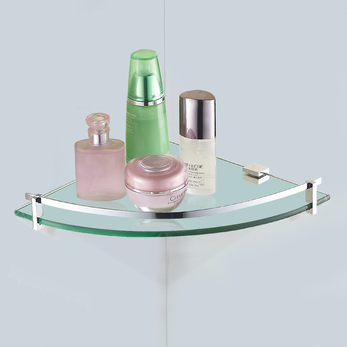 Updated vdomus tempered glass bath corner shelf bathroom - Bathroom glass corner shelves shower ...